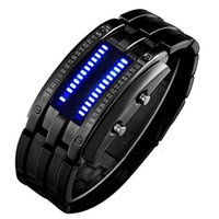 Wholesale Led Matrix Watches - Binary Matrix Blue LED Digital Waterproof Watch Mens Stainless Steel Fashion Black Plated Wrist Watches digital watch silicon