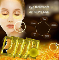 Wholesale Eye Wrinkle Remover - Free shipping 24K gold Collagen Crystal Eye Masks Patches Sheet Anti Aging Reduce Wrinkles Dark Circles Bags remover moisturizing Eye Cream