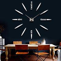 Wholesale Office Mirrors Wholesale - Extra Large Luxury Wall Clock Mirror Surface Sticker Wall Clocks 3D Acrylic Home Office Decol DIY Quartz Stylish Wall Clock