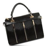 Wholesale Horse Hair Leather Handbags - Wholesale- Hot sale fashion classical horse hair fur and PU leather boston bag , women bag, leather handbag,shoulder bag WLHB1005