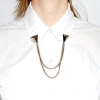 Wholesale Studs Spike Shirts - Wholesale- NEW Rock Pyramid Spike Stud Shirt Collar Neck Tip Clip Gothic Pin Brooch