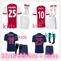 Wholesale Ajax Shorts Football - top quality 2017 2018 Ajax FC Soccer Jerseys kids kits + socks 17 18 Camisa ZIYECH KLUIVERT NOURI DOLBERG YOUNES Jerseys Football Shirts