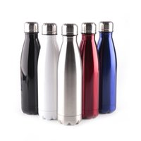 Wholesale Red Flasks - Amathing Water Bottle Vacuum Flask Cup Sports 304 Stainless Steel Cola Shape Mugs Vacuum Insulation Cups 500ml Mug DHL Free 0703090