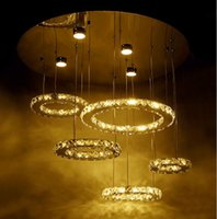 Wholesale Large Crystal Silver Rings - Creative Design 5 Rings Modern Crystal Chandelier For Living Room Large Lighting Fixture Dia80cm LED Lustres De Cristal LLFA