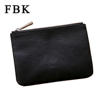 Wholesale Wholesale Cluth Bags - Wholesale- Genuine Leather Fashion New Classic Simple Women Men Cluth Bag Zipper Small Coin Purses Card Holders Key Holder Change Wallet