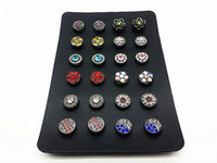 Wholesale Earrings Hooks Mixed - one set women's 12 pairs(24pcs) mix 12mm mini snap buttons for earrings with a display holder