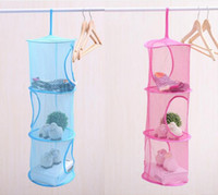 Wholesale Wholesale Closet Storage - 3 Shelf Hanging Bag Door Holder Net Storage Organizer Closet Hanger Organiser
