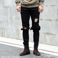 Wholesale Wholesale Designer Jeans For Men - Wholesale- TOP new Men's Washed Knee Scratched Hole distressed Black White Slim Fit Ripped Jeans For Men Brand Designer Skinny Pencil Pan