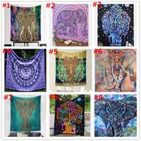 Wholesale Wholesale Woven Shawls - 9 Styls 150-130cm Mandala Tapestry Elephant Rectangle BeachTowel Boho Polyester BeachThrow Yoga Mat Wall Hanging Large Shawls BKT119