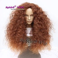 Wholesale kinky big hair wig - Big Frizzy Fluffy Afro Kinky Curly Hair Burnt Brown Color Hair Wig Synthetic Heat Resistant None Lace Front Wigs for Black Women