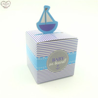 Wholesale Dualswish Baby on Boat Favor Box Wedding Candy Box Baby Shower Box Baby Design Chocolate Box Birthday Party Supplies