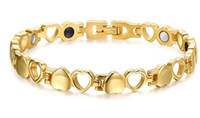 Wholesale Ion Heart - wholesale cheap jewelry power Bracelet Magnetic ion Nano Energy Heart Bracelet 18k Gold plated Stainless Steel bangle for girlfriend gift