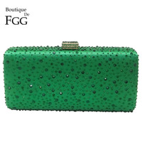 Barato Sacos De Cristal Verde-Atacado-Turquesa Verde Diamante Mulheres Metal Box Crystal Embreagem Evening Bolsas Hard Ladies Wedding Party Cocktail Shoulder Handbag Bolsa