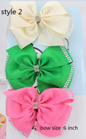 Wholesale Double Bow Clips - 9style available ! JOJO SIWA 20 pcs  Girl's PomPoms Rhinestones 6inch Mint Green Double Bow Hair Bow w Clip (new ) hair accessories