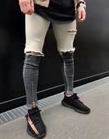 Wholesale Newest Style Jeans - 2017 Newest Fashion Tie-Dye Hole Destroyed Mens Hip Hop Denim Straight Biker Skinny Jeans Men Zipper Ripped Jeans