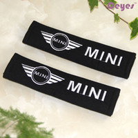 Wholesale Mini Pad Cover - Car Styling for BMW MINI copper r50 country man Harness Strap Logo Shoulder Pad Car Seat Belt Cover Exterior Accessories 2PCS LOT