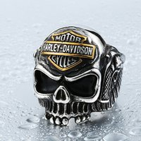 "Wholesale Stainless Skull Rings - European style jewelry men ""locomotive alphabet Skull Ring Harley ring"