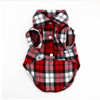 Wholesale Large Dog Coats Cheap - Factory direct new product hot sale quality cheap wholesale Lovely Grid Sweater Puppy Cotton Coat T-Shirt Pet Dog Apparel Clothes Shirt