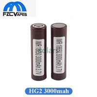 Wholesale tops for wholesale - Authentic HG2 18650 Battery 3000mAh Max 35A Flat Top Brown Lithium Battery for LG Box Mod Vape 100% Oirginal