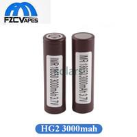 lithium-batterie-box großhandel-Authentische HG2 18650 Batterie 3000mAh Max 35A Flat Top Braun Lithium Batterie für LG Box Mod Vape 100% Oirginal