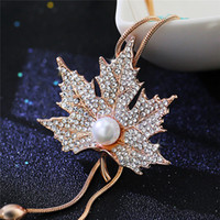 Wholesale Pearl Necklace Brooch - Simulated-pearl Maple Leaf Long sweater necklace crystal tassel collares statement necklace Gold Silver NE605