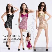sexy paillettenkleider großhandel-Frauen Mode sexy showOutside der einzigen Pailletten Kostüm Nacht Weihnachten Nachtclub weiblich Kleid Square Dance Kostüm