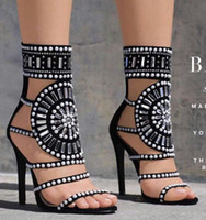 Wholesale shoes diamond studs - New women crystal sandals boots thin heel open toe shoes glitter diamond stud high heels ankle strap gladiator sandals