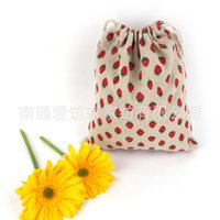 Wholesale Schools Bags Strawberry - Wholesale- 2016 Top Fashion Rushed Fabric Pen Case Wholesale Cotton Bags Mianma Cloth Pocket Bag Strawberry Folding Drawstring 14*16cm Az