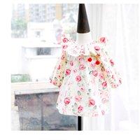 Wholesale Korean Children Dress Style - 2017 Autumn Girls Dress Floral Printed Ruffle Collar Long Sleeve Princess Dresses Korean Flower Children Casual Dress Kids Tops C1540