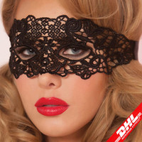 Wholesale Party Eye Mask Black - Masquerade Mask NEW Sexy Female Lace Hollow Flower Party Mask Eye Masquerade Solid Black fox Masks round black Mask Woven