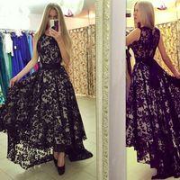 ingrosso abiti da sera di stile basso basso-2017 Black Lace Prom Dresses High Low A-line Scoop Modesta occasione speciale Abiti da sera per ragazze Nuovo stile
