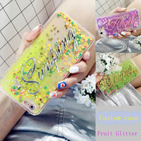 Wholesale Cover Iphone Cake - for Iphone 5s 6 6s 7 8 plus x Korea style Luxury Custom Personal name Exclusive Fruit Cake Liquid glitter sand Case cover