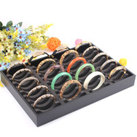 Wholesale Display Cases For Jewellery - 40 grids bangles show case jewelry display accessories holder black box for jewellery rack bracelets holder fashion design