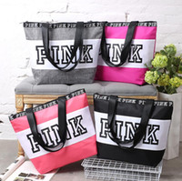 Wholesale Shoulder Tote Shopping Bag - Pink Letter Handbags VS Shoulder Bags Pink Purse Totes Travel Duffle Bags Waterproof Beach Bag Shoulder Bag Shopping Bags OOA1056