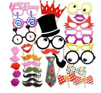 31 pièces Shower Photo Booth Props Wedding Birthday Party Creative Paper Beard