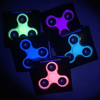 Wholesale hybrid toys - 7 different Tri-Spinner Fidgets Toy Luminous and hybrid ceramic EDC Sensory Fidget Spinner For Autism ADHD Kids