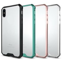 Wholesale armor moto - For IPhone X Armor Case Transparent Hybrid Phone Case For Samsung S9 Plus LG V20 MOTO G6 Plus Soft TPU Bumper Clear Back Cover OPPBAG