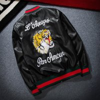 Wholesale Pilot Leather Suits - Cheap Wholesale Fashion Design Tiger Embroidery Unisex Bomber Jacket 2017 Mens PU Leather Motorcycle Pilot Jackets S-2XL