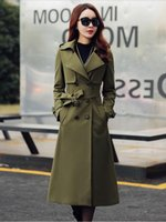 Wholesale Double Breasted Women Windbreaker - Fashion Spring Women Long Sleeve Trench Coats Ladies Lapel Double-breasted Long Dust Coat Girls British Style Windbreaker With Waistbelt