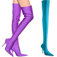 Wholesale Pointy Wedges - US4-12 Chic Womens Stretchy Satin Pointy Toe Over Knee Thigh Boots Stilettos Shoes Stretch Luxury Sexy High Heel Pumps WHH949