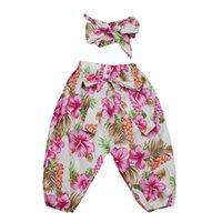 Wholesale Harem Pants Bow Girls - New Style Spring Autumn Ruffle Baby Harem Pants Cotton Full Kids Pants Cute Girls Pant with Bow Headband Set