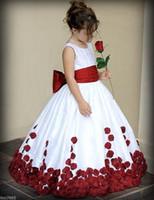 vestir a los niños brillar al por mayor-Nueva Flor Brillo Lindo Piso -Length Girl Dress Princesa Niños desfile Fiesta Vestido de Baile de Cumpleaños Vestido De Daminha