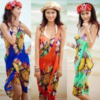 Wholesale Ice Silk Swimwear - 2017 women summer swimwear saida de praia swimsuit bikini dress beach cover up bathing suit cover ups Sarong Pareo