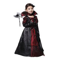 sin vestido chicas al por mayor-Niños Niñas Vampiro Halloween Party Costume Lace Dress Cosplay Performance Clothing Regalos (Sin varita de mano) HH7-194