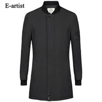 Großhandel-E-Künstler Herren Single Breasted Casual Lange Trench Mäntel Herren Slim Fit Jacken Windbreaker Outwear Overcoat Plus Größe 5XL F10