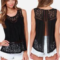 Wholesale Blouses Open Back - 2017 Summer Women Chiffon Shirts Crochet Lace vest Blouse Shirt Sexy Open Back Sleeveless Tank Tops Black White