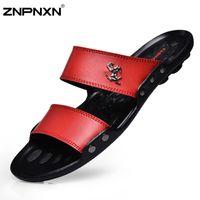Wholesale t back for men - Wholesale-New 2015 Men Sandals Fashion Casual Flat Soft Summer Flip Flops PU Massage Beach Slipper Shoes For Men Zapatos Size 39-44