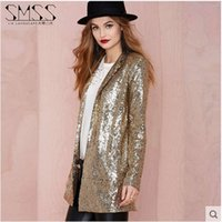 Women blazer clothings - Fashion Women Spring Lapel Motorcycle Suit Punk Style Loose Gold Silver Long Sleeves Long Blazers Casual Suit Clothings S1185