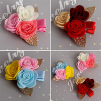 Wholesale Wholesale Western Fabrics - 2017 Baby Girls Rose Flower Bronzing Leaves Fabrics Hairbands Kids Girl Hair Clips Candy Color Western Hair Accessories