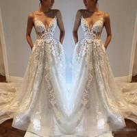 Wholesale Modest Red Wedding Dresses - 2017 Pallas Haute Lace Applique Sexy Country Wedding Dresses Modest Spaghetti Backless Elegant Beach Boho Vintage Bridal Gowns Cheap